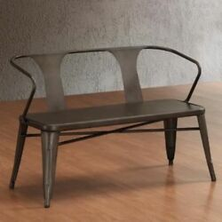 Patio Metal Bench Outdoor Vintage Seating Garden Retro Chair Furniture