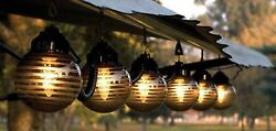 Globe String Lights Set Six Black Etched Bronze RV Patio Awning Porch Deck Party
