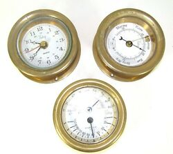Set of Victory Brass Clock Barometer and Comfort Meter For Parts $99.99
