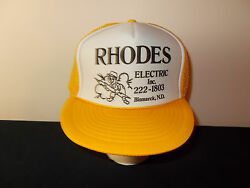 VTG 1980s Rhodes Electric Electrician Bismarck North Dakota trucker hat sku17 $29.99