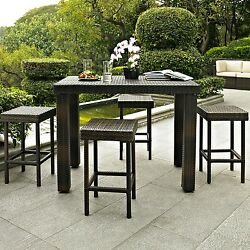 Patio Dining Set 5 pc Bar Height Garden Furniture Outdoor Table Stool Chair Lawn