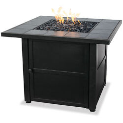 Outdoor Fire Pit Table LP Gas Heater Fireplace Ceramic Tile Patio Deck Backyard