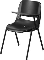 Flash Furniture Black Ergonomic Shell Chair with Left Handed Flip-Up Tablet Arm