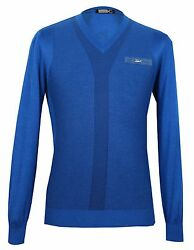 Zilli Men's Blue CashmereSilk & Croco details V-neck Sweater size 48(S)