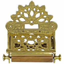 Solid Brass Wall Toilet Paper Holder with Fan English Crown Top Antique Replica $42.90