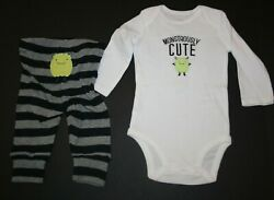 New Just One You By Carter#x27;s Boy Halloween Boy#x27;s 2 Piece Outfit Monster 3m Set $7.50