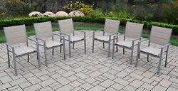 Oakland Living Padded Sling Stacking Patio Dining Chair Set of 6