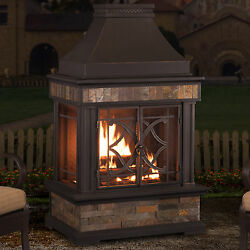 Sunjoy Heirloom Steel Wood Burning Outdoor Outdoor Fireplace