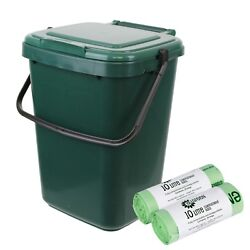 Large Green Kitchen Compost Caddy amp; 50x Compostable Bags Food Bin 10L 10 Litre GBP 14.99