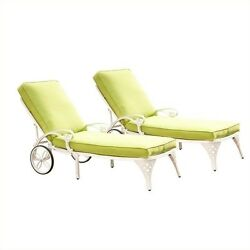 Home Styles Biscayne White Chaise Lounge Chairs Set of 2 Green Apple Cushions