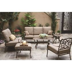 Darlee Florence 7 Piece Patio Sofa Set with Seat and Back Cushion-Antique Bronze