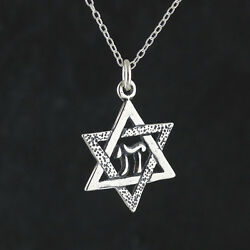 Star of David with Chai Necklace 925 Sterling Silver Pendant Jewish Gift NEW $22.00