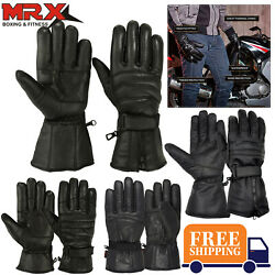 Mens Leather Motorcycle Gloves Gauntlet Driving Motorbike Riding Thermal Lining $15.99
