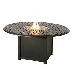 Darlee Series 60 Round Patio Propane Fire Pit Dining Table-Mocha