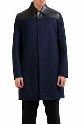 Valentino Men's Wool Cashmere Leather Blue Full Zip Coat Size M XL