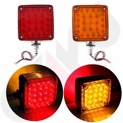 2xAmberRed Double Face Stud Mount Cab Fender Stop Turn Signal Tail 52 LED Light $33.43