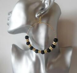 Gorgeous large Black bead & diamante gold tone big hoop drop earrings *NEW*   MD