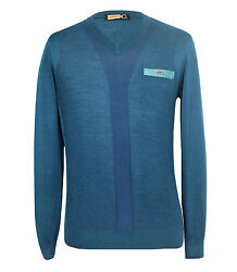 Zilli Men's Green Cashmere & Silk V-Neck Sweater with Croco details 48(S)50(M)