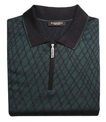Stefano Ricci Men's Night Green Cashmere & Silk Knitted Polo Sweater size 52(L)