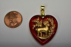 Vintage Glass Zodiac Astrology Heart Pendant Ruby Red Intaglio 30mm • Many Signs $5.99
