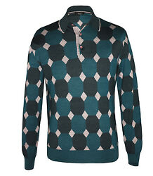 Stefano Ricci Men's Green Patterned Cashmere & Silk Polo Sweater size 48(S)