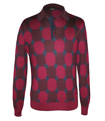 Stefano Ricci Men's Maroon Patterned Cashmere & Silk Polo Sweater size 48(S)