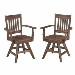 Bowery Hill Swivel Patio Dining Chair in Wire Brushed (Set of 2)