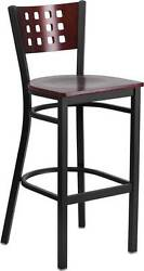 LOT OF 10 BLACK DECORATIVE CUTOUT BACK METAL RESTAURANT BARSTOOLS MAHOGANY WOOD