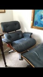 Rare Blue Leather Herman Miller Eames 670 lounge Chair And Ottoman Mid Century