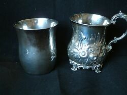 Antique Silver Baluster Mug London1857 together with a White Metal Wasted Beaker