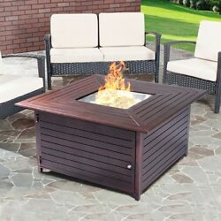40000BTU Aluminum Propane Gas Outdoor Fire Pit Table Stove Furniture WLid Pop