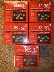 LOT OF 5 BOXES 10 CT SHIMMERING SNOWFLAKE LIGHT STRING INDOOROUTDOOR white wire