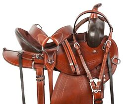 15 16 17 18 WESTERN HAND TOOLED BROWN COWBOY TRAIL HORSE LEATHER SADDLE TACK SET