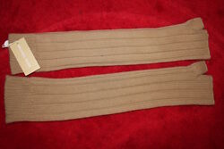 $395 Michael Kors Cashmere Barley Beige Tan Arm Warmers one size gloves nwt long