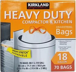 Kirkland Expandable Heavy Duty Compactor amp; Kitchen Bags 18 Gallon 70 Bags $26.55