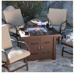 Fire Pit Table Outdoor Patio Gas Fireplace Propane Heater Furniture Cover Bronze