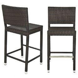 Set Of 2 Counter Height Bar Stools Chairs With Backs Wicker Patio Furniture 30