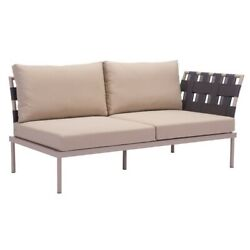 Zuo Glass Beach Outdoor Right Hand Chaise Lounge in Taupe Patio Lounger