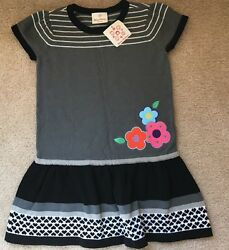 Nwt Hanna Andersson Girls Size 110 (5 6) Gray And Black Sweater Dress Winter