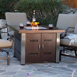 Fire Pit Table Outdoor Gas Fireplace Propane Patio Heater Backyard Furniture New