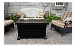 Propane Fire Pit Fireplace Table Glass Heater Back Yard Patio Gas Deck Furniture