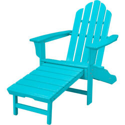 Hanover All-Weather Contoured Adirondack Chair with Hideaway Ottoman