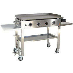 Outdoor Cooking Station Griddle Cook Chef BBQ Food Camp Grill Gas 4 Burner Stove