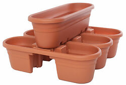 Bloem Milano 4 Piece Rail Planter Set Set of 4