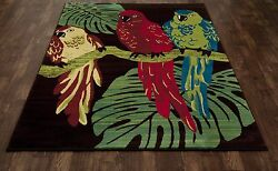 Art Carpet Antigua Parrots BrownGreen IndoorOutdoor Area Rug