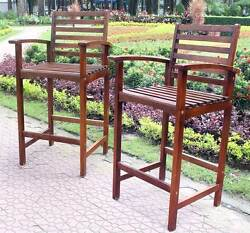 Wood Bar-Height Patio Chairs - Set of 2 [ID 2259044]