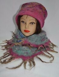 Felted Hat and Shawl Handmade Merino Wool 100% Woman Fashion for Winter