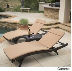 3 Piece Pool Chaise Lounger Set Brown Wicker with Caramel Cushion Seat Chair New