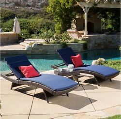 3 Piece Pool Chaise Lounger Set Brown Wicker with Navy Blue Cushion Seat Chair