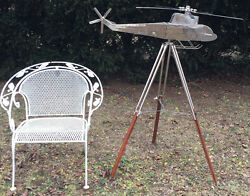 VERY UNIQUE & UNUSUAL CUSTOM MADE ART DECO CHROME HELICOPTER MODEL TRIPOD STAND